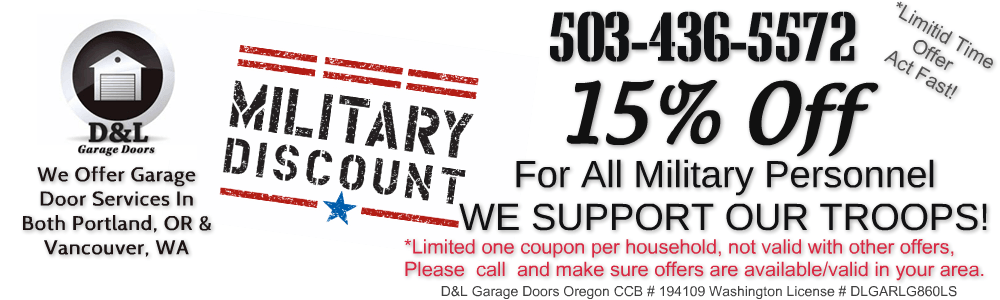 We Support Our Troops! Military Families Save 10% On All Purchases of any garage door products
